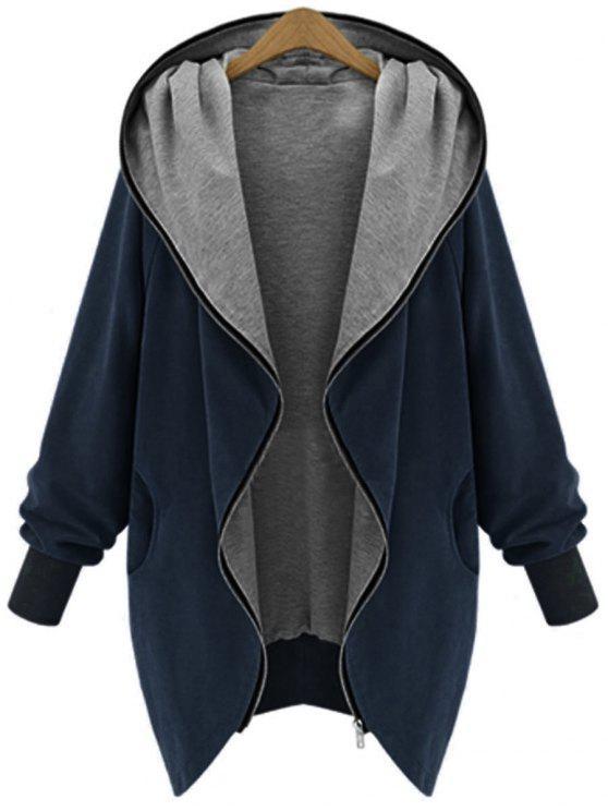 Manteau à Capuche Grande Taille Zippé - Bleu Cadette 4XL