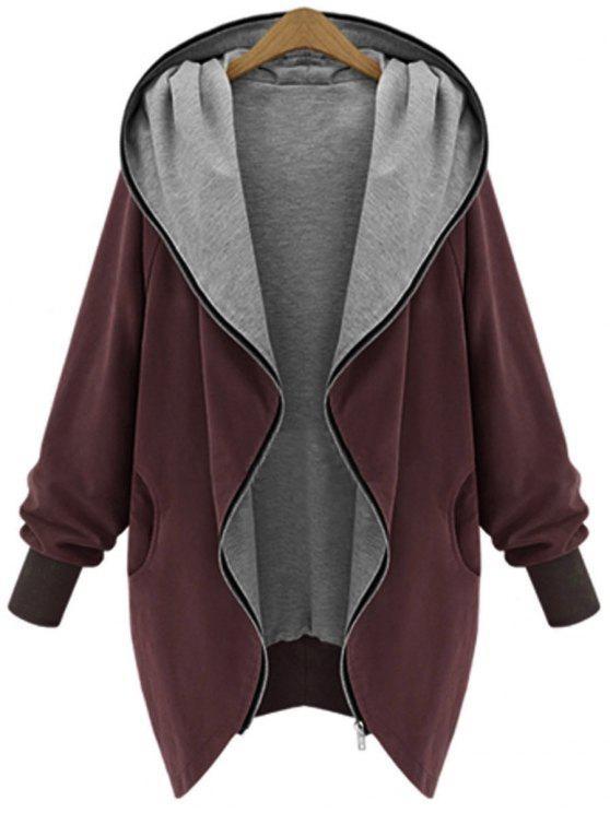 معطف بقلنسوة الحجم الكبير بسحاب - نبيذ أحمر XL
