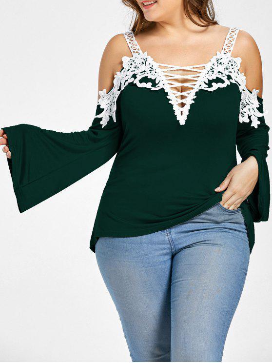 Merletti la maglietta fredda della spalla più lace - Verde Nerastro XL