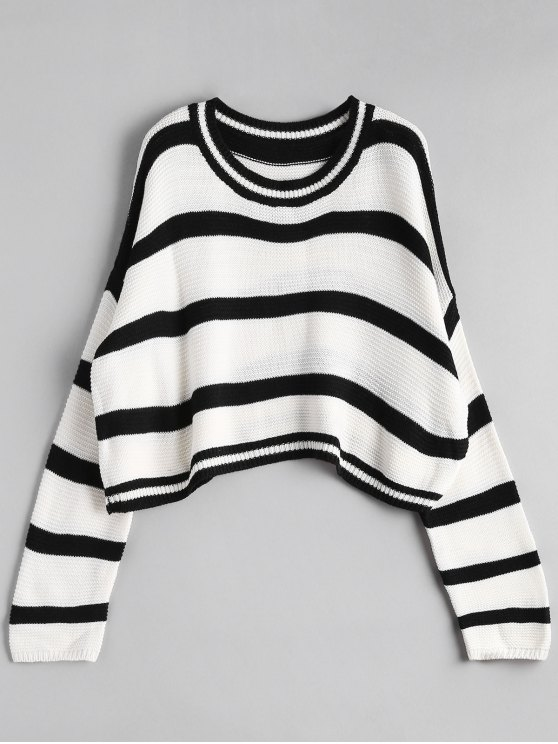 chic Crew Neck Stripe Cropped Sweater - OFF-WHITE ONE SIZE