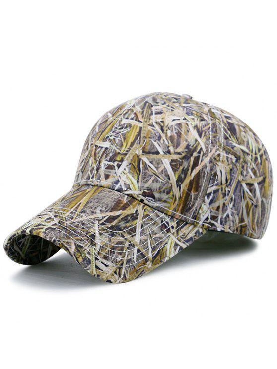 أوراق في الهواء الطلق شروب مطبوعة قبعة بيسبول قابل للتعديل - الأبيض والأخضر