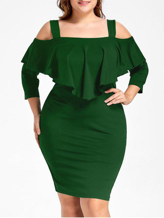 Plus Size Overlay Cold Shoulder Sheath Dress Green Plus Size