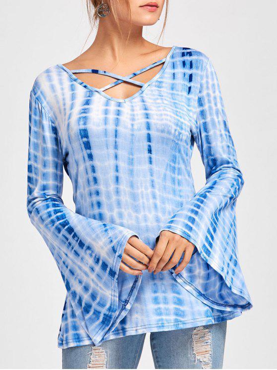 Criss Cross Bell Sleeve Tie Dye T-shirt - Azul L