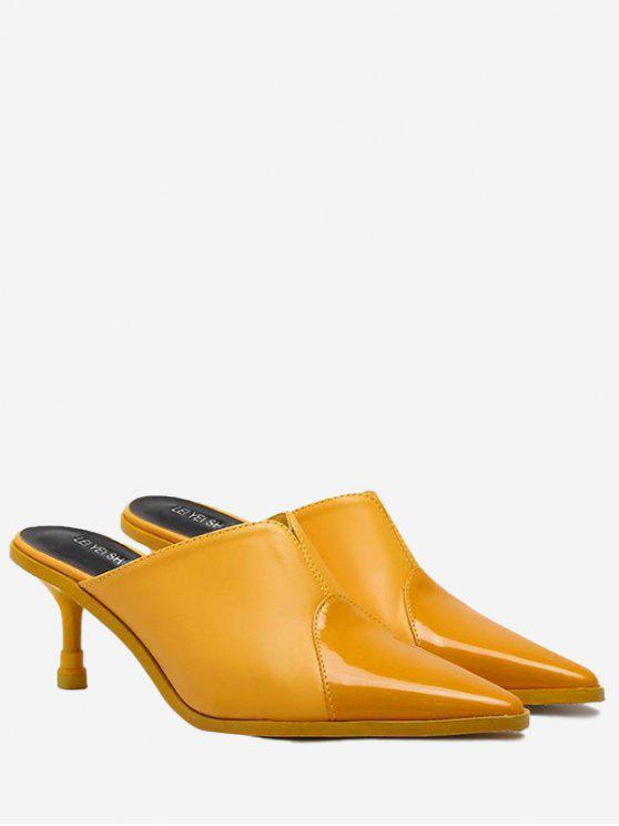 trendy Faux Leather Pointed Toe Slippers - YELLOW 39