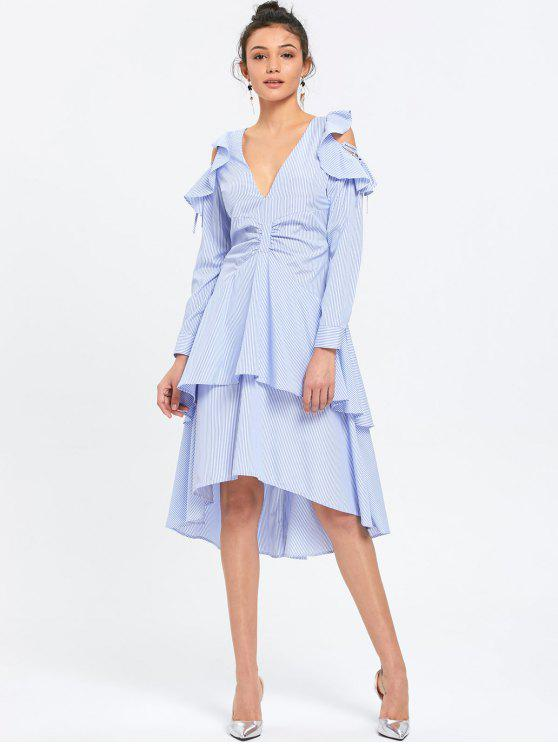 trendy Ruffle Layered Striped Cold Shoulder Dress - BLUE STRIPE M