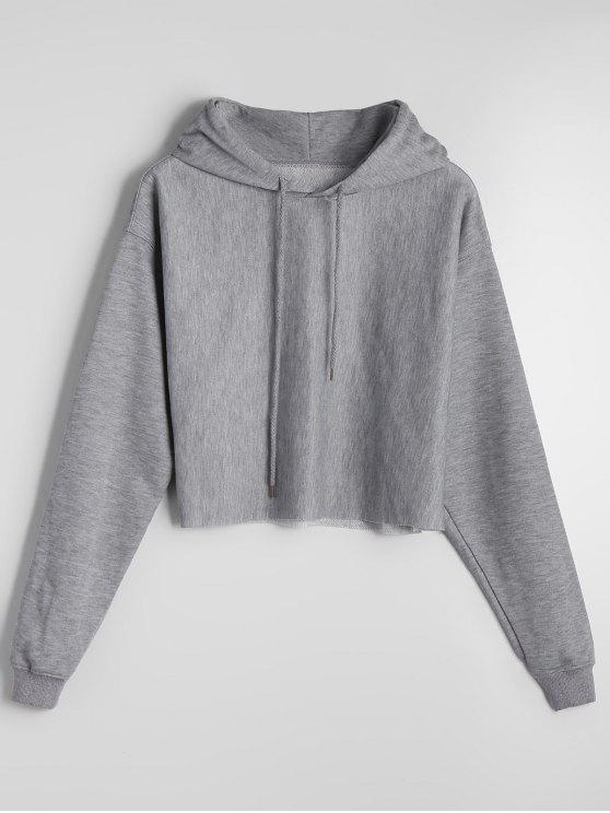 f22c5a408f632 2019 Cropped Casual Drop Shoulder Hoodie In GRAY S