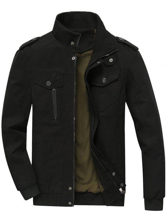 Mens Zip Up Jacket BLACK: Jackets & Coats L | ZAFUL