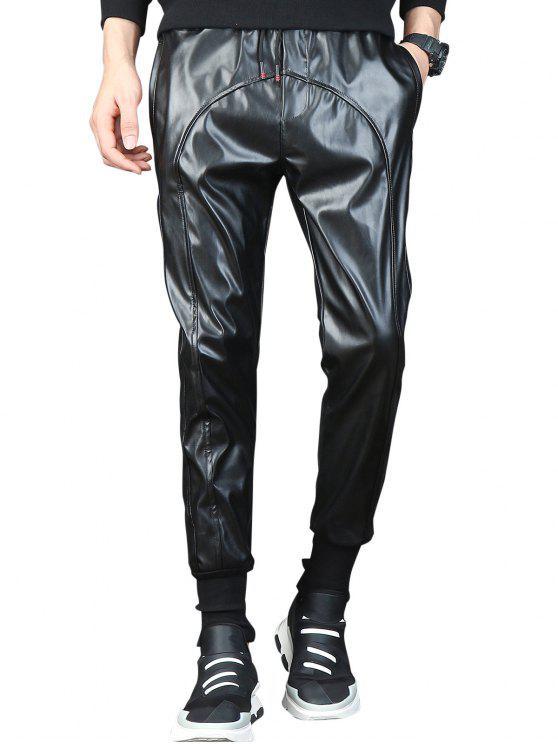 size 40 online sale nice shoes Drawstring Waist Beam Feet Faux Leather Pants BLACK