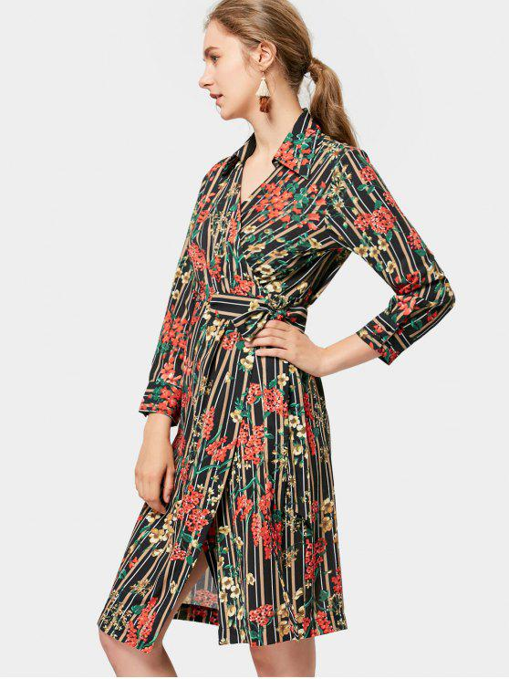 trendy Long Sleeve Wrap Floral Stripes Dress - FLORAL M