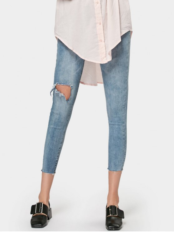 chic Ninth Skinny Destroyed Pencil Jeans - DENIM BLUE XL