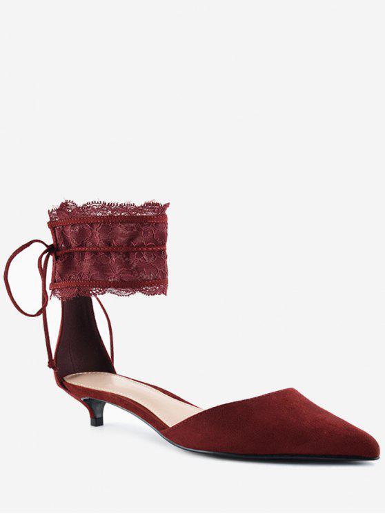 Puntiaguda toe tobillo correa dos piezas sandalias - Vino Rojo 34