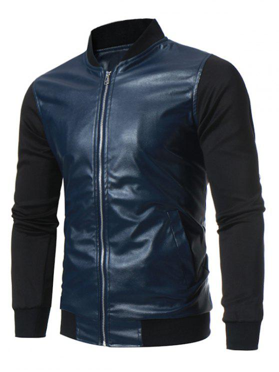 d9f4b3801 Stand Collar Panel Design PU Leather Zip Up Jacket