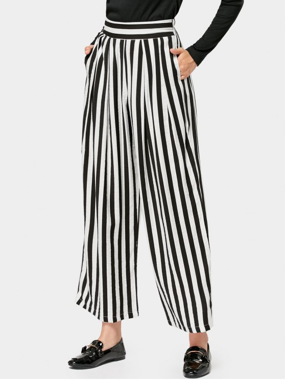 7051617de63f7 23% OFF  2019 Elastic Waist Casual Stripes Wide Leg Pants In STRIPE ...