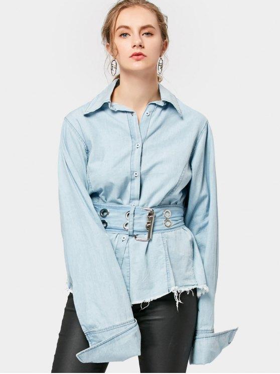 online Frayed Belted Corset Shirt - LIGHT BLUE M