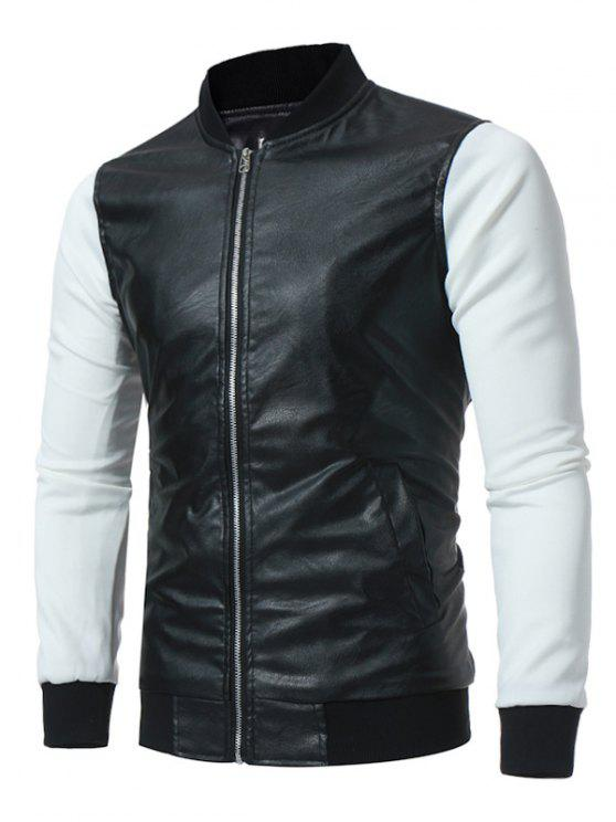 Stand Designs Zip : Stand collar panel design pu leather zip up jacket in
