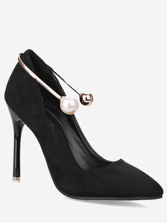 hot Ankle Strap Faux Pearl Stiletto Pumps - BLACK 38