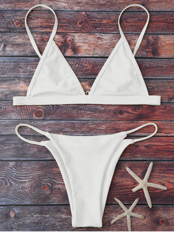 new Cami Plunge String Bikini Set - WHITE M