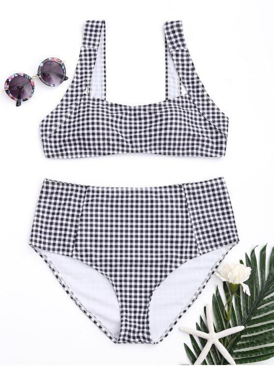 Bikini taille haute à carreaux et carreaux - Blanc et Noir S