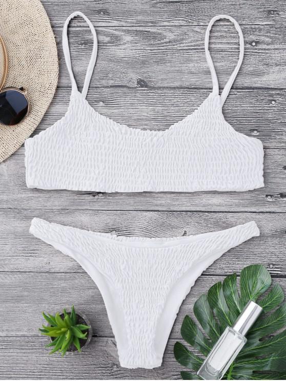 shop Smocked Bikini Top and Bottoms - WHITE M