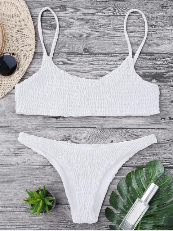 shop Smocked Bikini Top and Bottoms - WHITE M