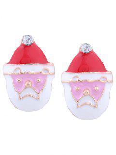 Rhinestone Tiny Christmas Santa Earrings - Red