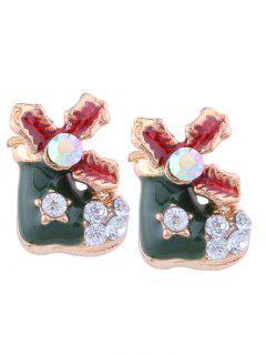 Rhinestone Christmas Leaf Shoe Stud Earrings - Green