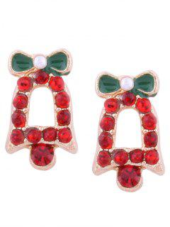 Rhinestone Tiny Christmas Bell Stud Earrings - Red