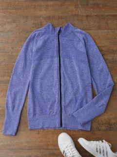 Thumbhole Heathered Sports Jacket - Blue S