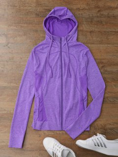 Thumbhole Hooded Sports Jacket - Purple S