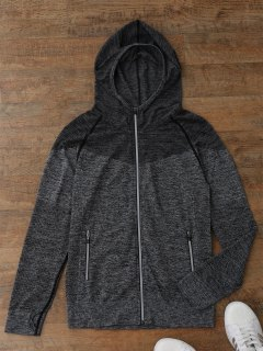 Thumbhole Heathered Hooded Jacket - Gray S