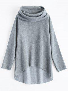 High-Low Tunic Hoodie - Gray M