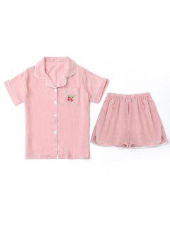 Embroidered Shirt With Shorts Loungewear Suit - Pink Xl