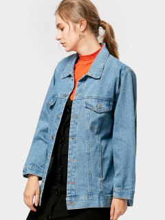 Button Up Letter Floral Embroidered Denim Jacket - Denim Blue L