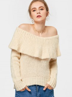Overlap Fuzzy Off Shoulder Sweater - Palomino