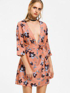 Belted Floral Hollow Out Mini Dress - Floral L