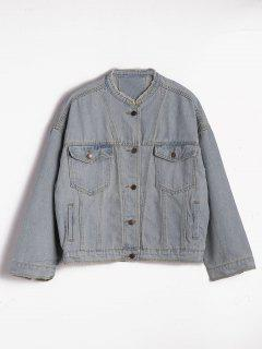 Loose Button Up Destroyed Denim Jacket - Denim Blue M