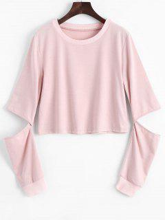 Sweat-shirt Simple à Manches Cut Out - Rose PÂle Xl
