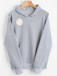 Badge Patched Front Pocket Hoodie - Gray Xl