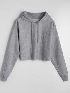 Cropped Casual Drop Shoulder Hoodie - Gray L