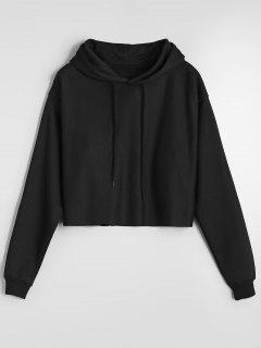 Cropped Casual Drop Shoulder Hoodie - Black M