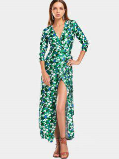 Contrasting Printed Wrap Maxi Dress - Green M