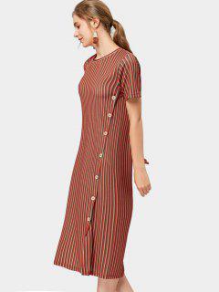 Seitlich Geknöpfte Streifen Midi Kleid - Streifen  S