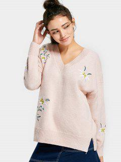 Drop Shoulder Embroidered V Neck Sweater - Beige