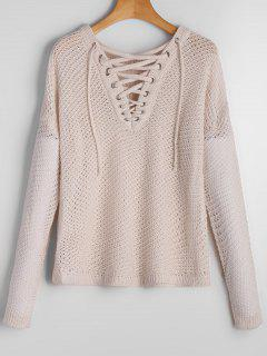 V Neck Drop Shoulder Lace Up Sweater - Off-white