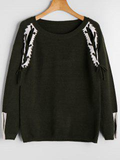 Open Sleeve Contrasting Lace Up Sweater - Army Green