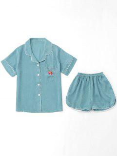 Embroidered Shirt With Shorts Loungewear Suit - Lake Blue L