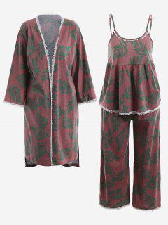 Pajamas Leaf Print Kimono And Cami Top And Pants - Russet-red M