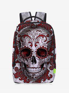 Canvas Skull Zips Backpack - Red