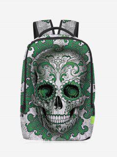 Canvas Skull Zips Backpack - Green