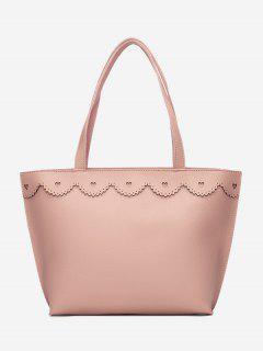 Faux Leather Heart Pattern Shoulder Bag - Pink